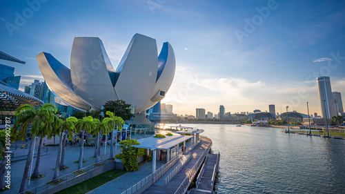 The ArtScience Museum Waterfront Promenade ; Fantastic Travel In Singapore Canvas Print