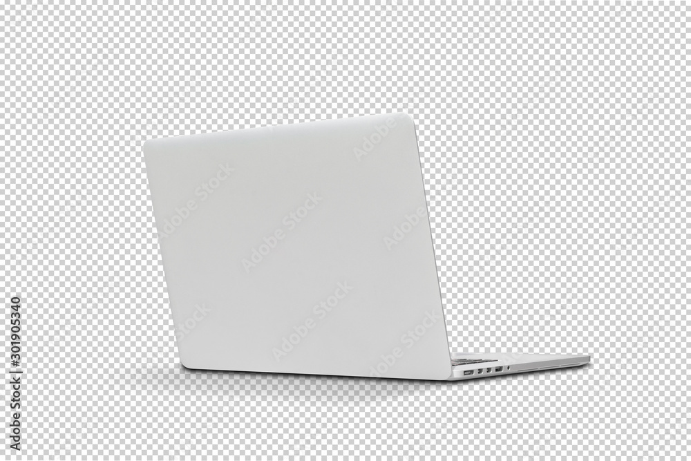 Fototapety, obrazy: Back view Of the latest laptop Designed to be slim modren , isolated with clipping path on transparent background
