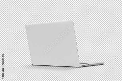 Obraz Back view Of the latest laptop Designed to be slim modren , isolated with clipping path on transparent background - fototapety do salonu