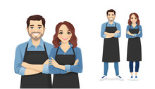 Smiling Young Man And Woman In Black Aprons Standing Isolated Vector Illustration