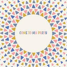 Fun Geometric Party Invitation Card Design. Vector Frame Illustration.