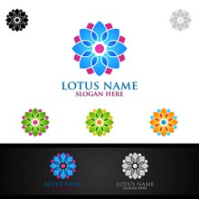 Yoga And Lotus Flower Logo With Health Spa Concept And Human Silhouette