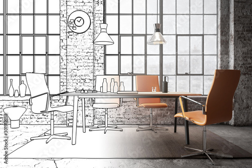 Fotomural  Office Lounge inside an industrial Loft (concept) - 3d visualization