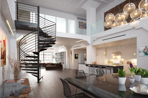 City Loft Apartment - 3d visualization
