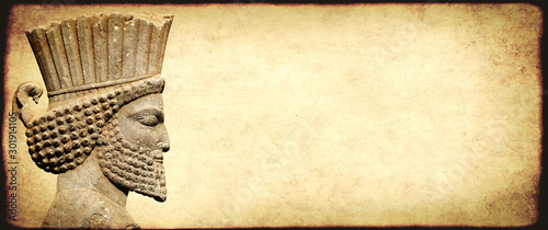 Fotografija Grunge background with paper texture and head of persian warrior