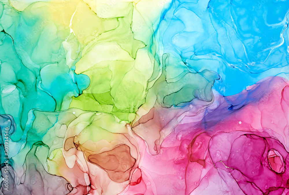 Fototapety, obrazy:  Abstract colorful background, wallpaper. Mixing acrylic paints. Modern art. Paint marble texture. Alcohol ink colors  translucent