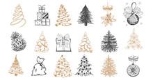 Christmas Tree Set. Christmas Ball Set. Hand Drawn Illustration.