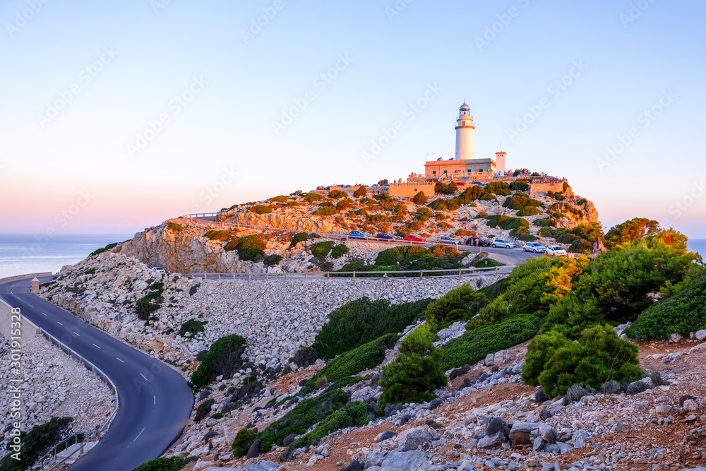 Fototapety, obrazy: Beautiful white Lighthouse at Cape Formentor in the Coast of North Mallorca, Spain Balearic Islands. Artistic sunrise and dusk landascape.