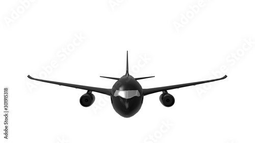 Fotografering  3d rendering of a jumbo jet commericial airplane isolated in white