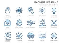 Machine Learning Line Icons Set. Vector Illustration. Editable Stroke.