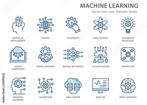 Cuadros en Lienzo Machine learning line icons set