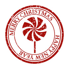 Merry Christmas And Happy New Year Grunge Dirty Post Stamp Candy Icon