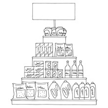 Grocery Pyramid Shelves Graphic Black White Isolated Sketch Food Store Illustration Vector