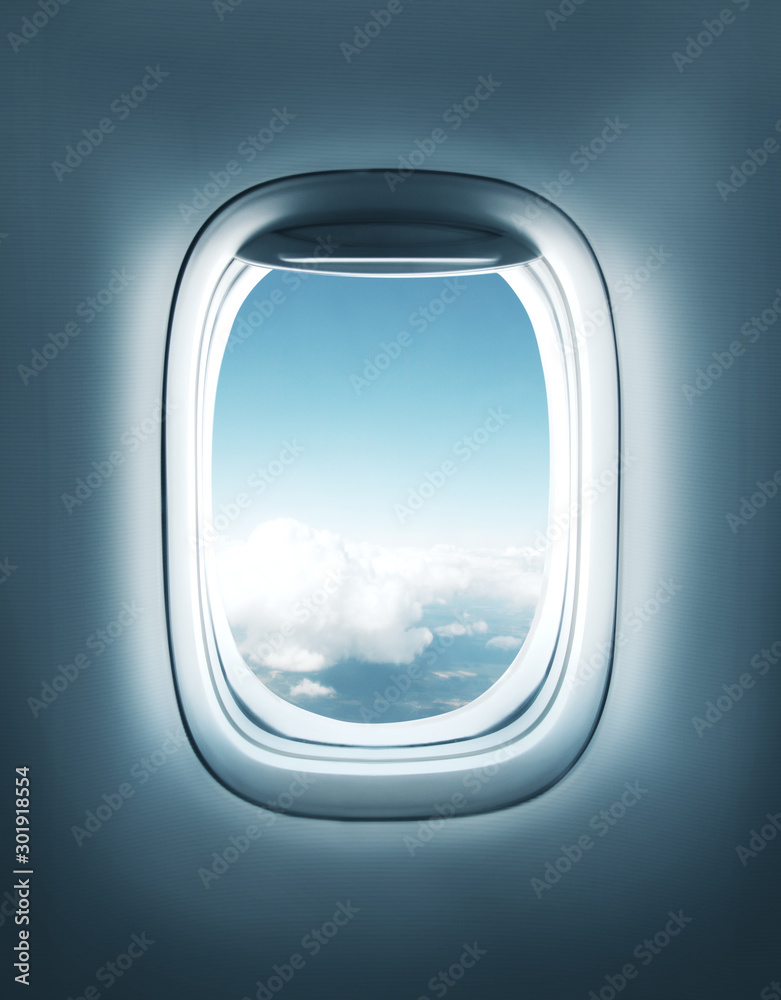 Fototapety, obrazy: airplane window with clouds view