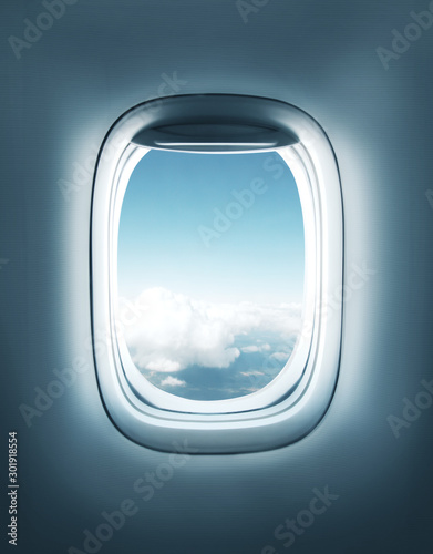 airplane window with clouds view - 301918554