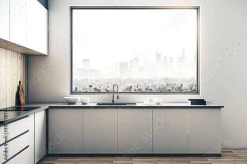 Obraz White kitchen interior - fototapety do salonu
