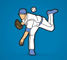 Baseball Player Action Cartoon...