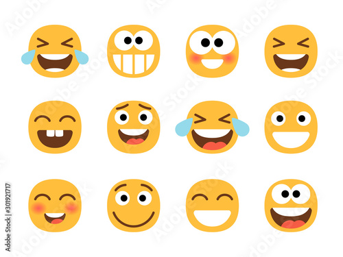 Cheerful emoticons Wallpaper Mural