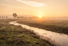 Breathtaking Shot Of A Dutch Polder In A Field And The Rising Sun In The Background