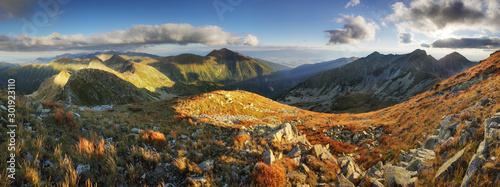 Panoramic view from Rohac peak on Western Tatra mountains or Rohace panorama Canvas Print