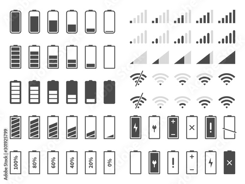 Fotografia Signal and battery icons