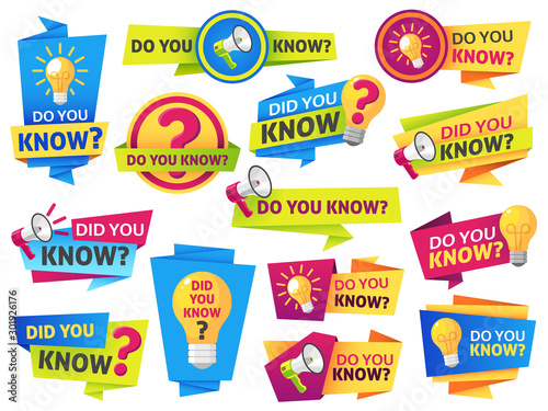 Obraz Do you know. Label sticker with did you know speech bubbles and question mark. Post article with typography marketing vector banners - fototapety do salonu