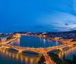 canvas print picture - Night panorama of Budapest Hungary
