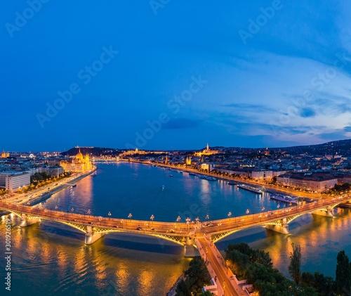 Night panorama of Budapest Hungary
