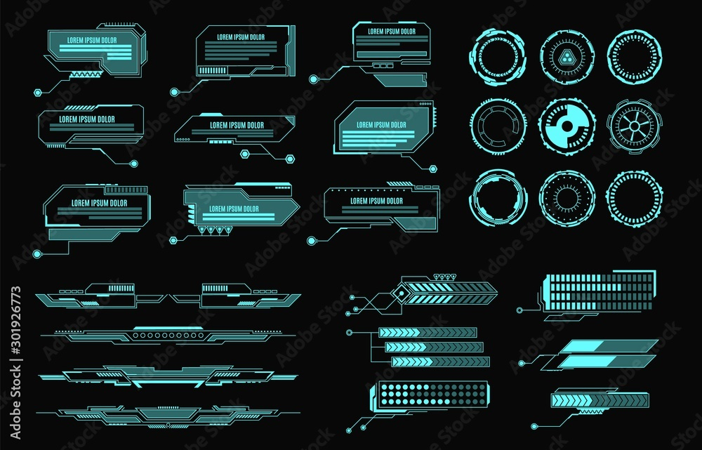 Fototapety, obrazy: Hud elements. Futuristic virtual screen user interface, control panel for game apps. Callout bar labels, digital info boxes vector layout