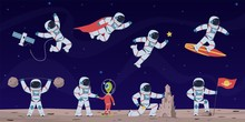 Astronaut. Cute Astronauts Working In Space With Equipment And Spaceship, Greeting Alien And Flying In Starry Sky Cartoon Vector Character