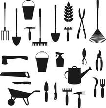 Garden Tools. Shovel, Rake, Wh...