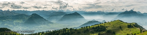 Fotobehang Bomen Beautiful panoramic view on Swiss Alps around Lake Lucerne as seen from top of Rigi Kulm peak