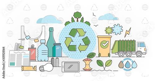 Fototapeta Recycle outline concept flat vector illustration obraz