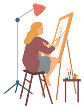 Drawing Woman, Hobby Painter Painting New Picture. Isolated Character With Canvas And Easel, Paints And Brushes Of Artist, Leisure Time Interest. Vector Illustration In Flat Cartoon Style