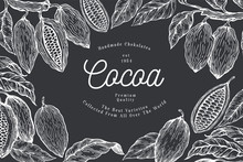 Cocoa Design Template. Chocolate Cocoa Beans Background. Vector Hand Drawn Illustration On Chalk Board. Vintage Style Illustration.