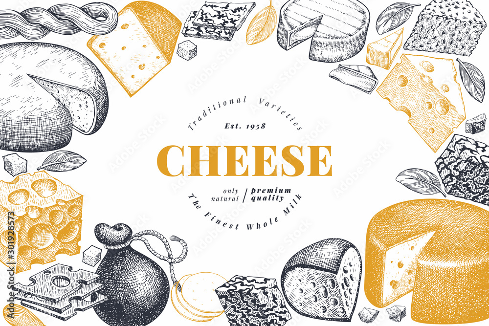 Fototapeta Cheese design template. Hand drawn vector dairy illustration. Engraved style different cheese kinds banner. Vintage food background.