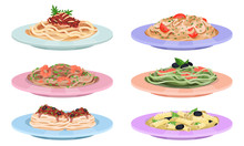 Different Pasta Dishes Served On Flat Plates Vector Set
