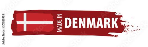 Fényképezés Denmark flag, vector illustration on a white background