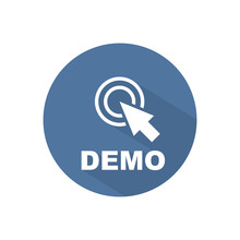 Demo With Cursor Sign Icon. Demonstration Symbol. Circle Flat Button. Modern UI Website Navigation. Vector