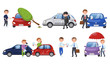 People Suffering From Different Car Accidents Vector Illustrations