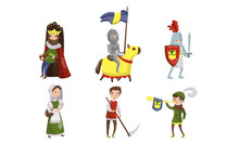 Medieval People Characters Vec...