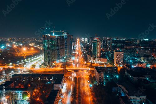 Panoramic view on big city at night