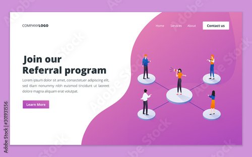 Landing page template of referral program Wallpaper Mural