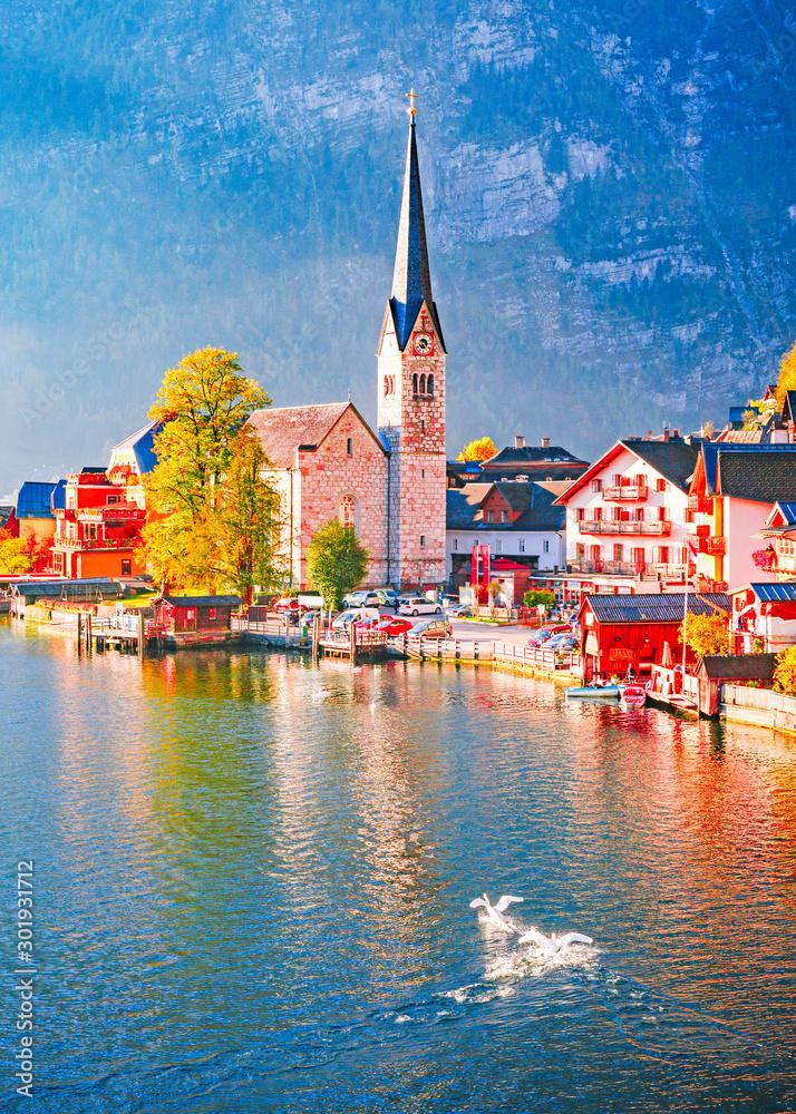 Fototapety, obrazy: Austria, Hallstatt historical village. UNESCO world heritage site. Hallstatt is iconic world landmark. Autumn seasonal landscape during sunrise. Two swans on the lake.
