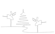 Christmas Background With Tree And Ballet Dancer Vector Illustration