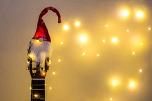 Acoustic Guitar With Red Santa...