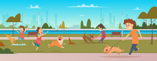 Kids In Park With Dogs. Children Jogging And Playing Running With Happy Domestic Puppy Dogs Vector Outdoor Background. Dog Walk In Park With Children Illustration