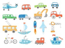 Transport Doodles. Kids Drawing Technics Tractor Cars Plane And Ship Vector Pictures Isolated. Illustration Transport Toys Sketch, Excavator And Helicopter