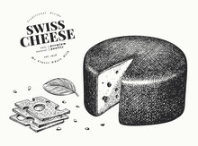 Swiss Cheese Illustration. Hand Drawn Vector Dairy Illustration. Engraved Style Emmental Head. Vintage Food Illustration.