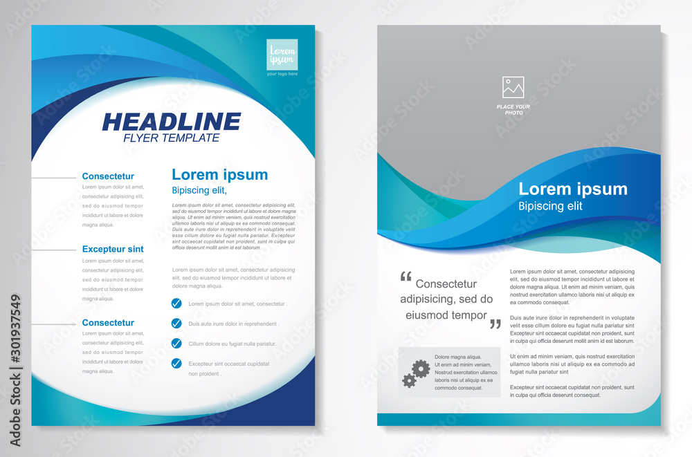Fototapety, obrazy: Template vector design for Brochure, AnnualReport, Magazine, Poster, Corporate Presentation, Portfolio, Flyer, infographic, layout modern with blue color size A4, Front and back, Easy to use and edit.